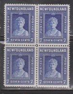 NEWFOUNDLAND Scott # 258 MNH Block Of 4 - Queen Mary - 1908-1947