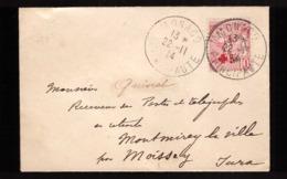 Monaco Cachet 1914 Timbre N°26 Seul Sur Lettre Surcharge Croix Rouge - Monaco