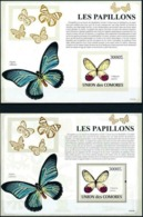 COMORES :  BUTTERFLYS    MNH ( 2 SHEETS  : Perf.+Imperforated) - Comoros