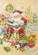 Santa Claus Writing Letter - Toys - Cat And Dog Puppy Sleeping Together - Santa Claus