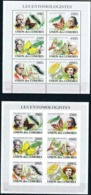 COMORES :  BUTTERFLYS      MNH (2 SHEETS :  Perf.+Imperforated) - Comoros