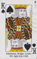 Télécarte Japon / 110-192552 - Carte à Jouer - ROI ** YOKOHAMA BRIDGE CENTER ** - Playing Card Japan Phonecard -  95 - Jeux