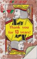 Télécarte Japon / 110-97535 - Carte à Jouer - ROI ** THANKS 13 Years ** - KING Playing Card Japan Phonecard - 97 - Jeux