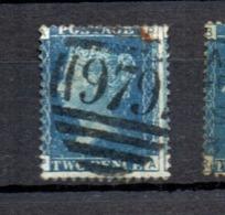 GB Line Engraved  Victoria 2d Blue Good Used      979 Acklington Edinburgh - 1840-1901 (Viktoria)
