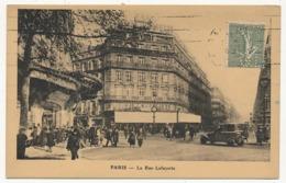 FRANCE - YT 130 Semeuse Lignée 15c Vert Gris Perforé G.L Galeries Lafayette Sur CP Préimprimée La Rue Lafayette - Gezähnt (Perforiert/Gezähnt)