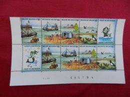 Partie De Planche De 8 Timbres Neufs-Belgique-Gardez La Mer Propre-1988 - Panes