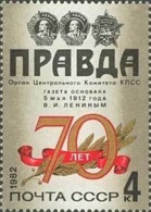 USSR Russia 1982 - One 70th Anniv Pravda Newspaper Lenin October Revolution History Celebrations Art Stamp MNH Mi 5171 - Art