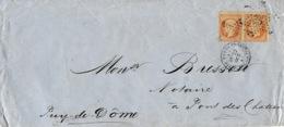 1867- Enveloppe  De Paris / Ministère Des Finances  Affr. Paire N°23 Oblit. étoile 35 - Marcofilie (Brieven)