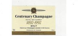 ETIQUETTE CHAMPAGNE CENTENARY  CHAMPAGNE  ROYAL MID SURREY  1892  1992  PAR LENOBLE A DAMERY GOLF  * RARE  A   SAISIR * - Champagne