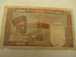 100 Francs Algerie  1945  Mauvais  Etat - Algeria