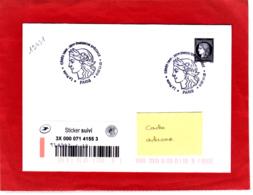 1.05 € Noir, Cérès Non Dentelé + Sticker Suivi, Sur Lettre Voyagée, Obl 1er J  07/11/19,  Carnet Céres/Marianne - France