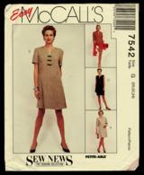 Vintage McCall`s Schnittmuster 7542  -  Kleid, Ungefütterte Jacke, Weste, Rock  -  Size G  -  Größe 20-24 - Designermode