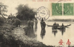 ANNAM Hué Elephants Traversant Une Rivière + Beaux Timbres 5 X 2 Indochine Cachet Vien Tiane Laos RV - Vietnam