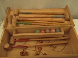 Ancien Jeu De Croquet En Bois - Enfants - Vers 1950 Vendu  En L'etat - Toy Memorabilia