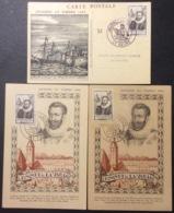 CM083 Journée Du Timbre Fouquet 754 Metz Le Havre + Vignette Paris 29/6/1946 Lot 3 Carte Maximum - Maximum Cards