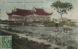 TONKIN  Haiphong Pagode Route De Phu Liem Labour Avec Un Buffle Colorisée + Beau Timbre 5 Indochine RV - Viêt-Nam