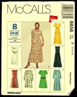 Vintage McCall`s Schnittmuster 8856  -  Misses Semi Kleid Auf Taille Prinzessin  -  Size B -  Größe 8-12 - Designermode