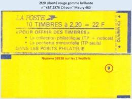 FRANCE - Carnet Conf. 9, Numéro 98838 - 2f20 Liberté Rouge - YT 2376 C4 / Maury 463 - Usage Courant