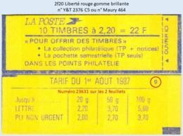 FRANCE - Carnet Conf. 9, Numéro 23631 - 2f20 Liberté Rouge - YT 2376 C5 / Maury 464 - Usage Courant