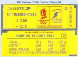 FRANCE - Carnet Conf. 9, Numéro 09954 - 2f50 Briat Rouge - YT 2715 C2 / Maury 491 - Usage Courant