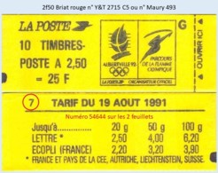 FRANCE - Carnet Conf. 7, Numéro 54644 - 2f50 Briat Rouge - YT 2715 C5 / Maury 493 - Usage Courant