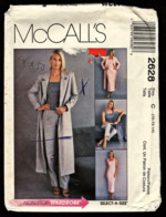 Vintage McCall`s Schnittmuster 2628  -  Damen Duster, Top, Hosen Und Bias Skirk  -  Size C -  Größe 10-14 - Designermode