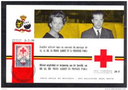 BELGIQUE PR 125, FEUILLET OFFICIEL EMIS EN SOUVENIR DU MARIAGE DE PRINCE ALBERT ET PRINCESSE PAOLA. (3F110) - Belgium