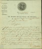 BELGIQUE LETTRE DATE DE BRUGES 31/01/1804 DOCUMENT ILLUSTRE (DD) DC-4486 - 1794-1814 (French Period)