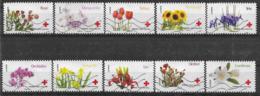 2014 FRANCE Adhesifs 989-98 Oblitérés, Croix-rouge, Fleurs, Série Complète - France
