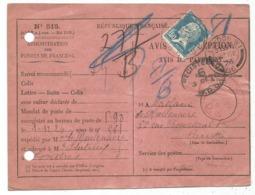 PASTEUR 1FR50 SEUL AVIS DE RECEPTION N°515 Trou Archive PARIS 1926 POUR LOBDRES AGLETERRE AU TARIF - 1922-26 Pasteur