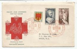 CROIX ROUGE 8FR+15FR +2FR BLASON LETTRE FDC 1ER JOUR MUSEE POSTAL POSTAL PARIS 22 DEC 1950 POUR USA - Poststempel (Briefe)