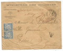 TAXE 5C BLEU PAIRE PESSAC GIRONDE 1915 LETTRE ENTETE MINISTERE DES COLONIES - Marcophilie (Lettres)