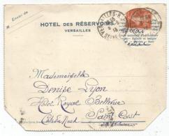 SEMEUSE 10C CARTE LETTRE A TROU ENTETE HOTEL DES RESERVOIRS VERSAILLES 1913 RARE - Storia Postale