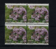 Serbia 2019 Flora, Herbs, Bees, Honey, Definitive Stamp, Block Of 4 MNH - Plantas Medicinales