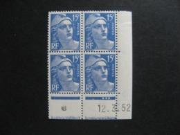 A). Bloc De 4 Coin Daté:  12.03.1952 Du N° 886, Neuf XX . - 1950-1959