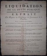 """Placard """"Liquidation De La Dette Publique"""" - Bruxelles 9 Thermidor An 11 (1802) - Wetten & Decreten"""