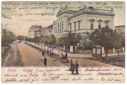 # 10690 Croatia, Osijek, Esseg Postcard Mailed 1904: Capuchins Street, Kiosk, Traces, Animated - Croatie