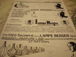 ANCIENNE PUBLICITE HISTOIRE DE LA LAMPE BERGER 1929 - Advertising