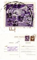 LOZERE ENTIER 1942 MERCURE PERFORE AF (ACIERIES FORGES FIRMINY à ST CHELY D'APCHER LOZERE - Postmark Collection (Covers)