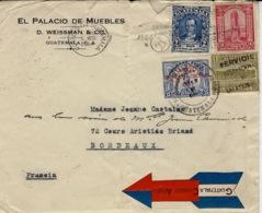 1934- Enveloppe Par Avion,avec étiquette Peu Courante , Affr. 21 Centavos  Pour La France - Guatemala