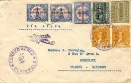 1932- Enveloppe Par Avion,illustrée D'un Avion, Affr. à 57 Centavos Pour Bordeaux - Guatemala