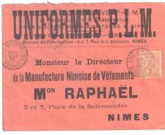 GARE DE MONTPELLIER Hérault Lettre Entête UNIFORMES PLM Raphaël Tailleur Melon Redingote 15c Mouchon Type II Yv 117 - Briefe U. Dokumente