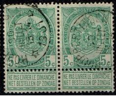 56 Paire  Obl Relais  Houppertingen  + 30 X 2 - 1893-1907 Coat Of Arms