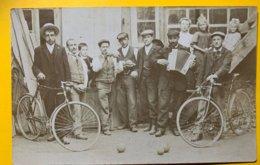 9091 - Groupe Hommes Et Enfants Cycles, Boules D Epétanque Accordéon De Nancy Spembre 1907 Pour Aarberg - Cartes Postales
