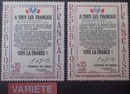 """R1591/661 - 1964 - N°1408 NEUF** - VARIETES ➤➤➤ Papier Bleuté / Drapeaux Cassés / """" Juin 1940 """" En Rouge - Variétés Et Curiosités"""