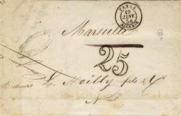 1854- Lettre De TENEZ / ALGERIE  Cad T15 + Taxe Dt 25  Pour Marseille - Poststempel (Briefe)
