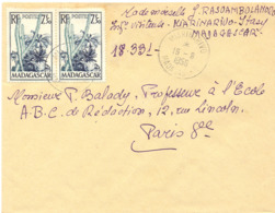 MADAGASCAR MIARINARIVO TàD 16-8-1956 - Madagascar (1889-1960)