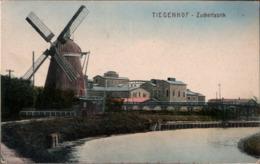 ! Alte Ansichtskarte Tiegenhof, Zuckerfabrik, Windmühle, Moulin A Vent, Windmill, Westpreußen, Nowy Dwor Gdanski, Polen - Pologne