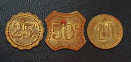 """Série De 3 Jetons De Nécessité En Laiton - 25c, 50c Et 1Fr Avec Contremarque """"P"""" à Identifier - Monétaires / De Nécessité"""