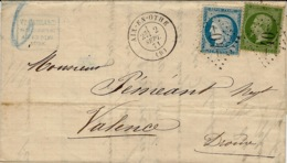 2 SEPT. 1871-  Lettre D'AIX-EN-OTHE ( Aube Cad T17 Affr. N°37 + 20  Oblit. G C 40 - 1801-1848: Precursors XIX
